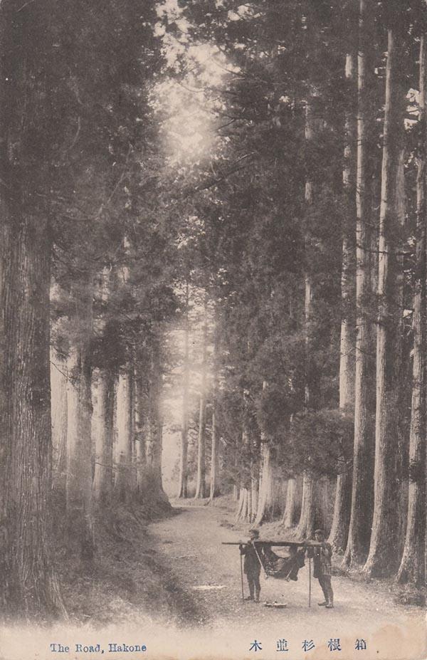 箱根杉並木戦前の写真(C)孫三・花詩 箱根のお土産は銘菓・温泉餅 くさのもち